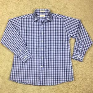 Michael Kors Blue Button Front Dress Shirt Polo